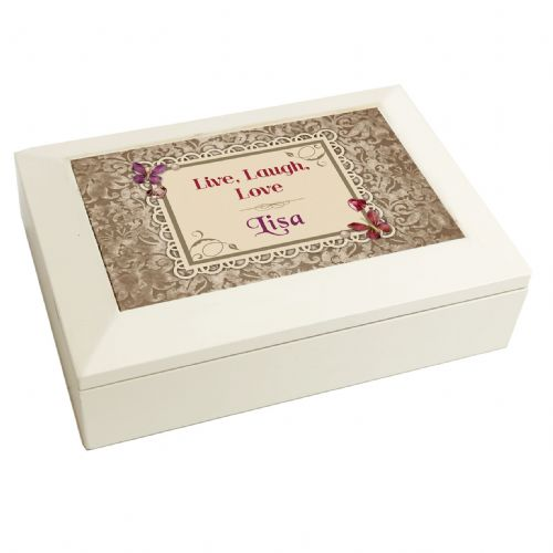 Personalised Butterfly Gem White Jewellery Box